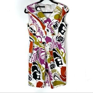 LAFAYETTE 148 White Colorful Patterned Dress